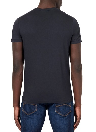Emporio Armani  Logo Baskılı Bisiklet Yaka % 100 Pamuk T Shirt Erkek T Shırt 8N1T99 1Jnqz 0939 Lacivert